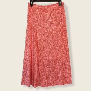 H&M Patterned Red Floral Mid Length Skirt - 8